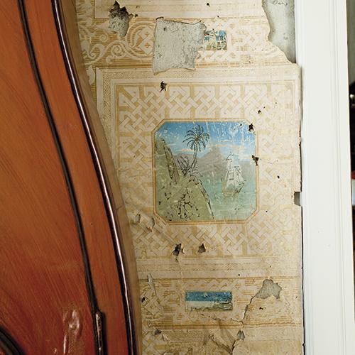 Tapetet i rommet er verdt en studie i seg selv med små motiver fra tropiske strøk.