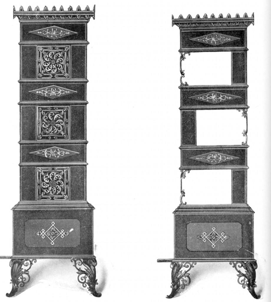 Tradisjonell 1800-talls etasjeovn beregnet på rask oppfyring og raskt varmeavgivelse. Drammens Jernstøperi.
