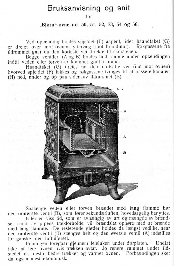 Bruksanvisning for Bjørnovner med sekundærforbrenning. Illustreret Katalog Drammens Jernstøberi 1923.
