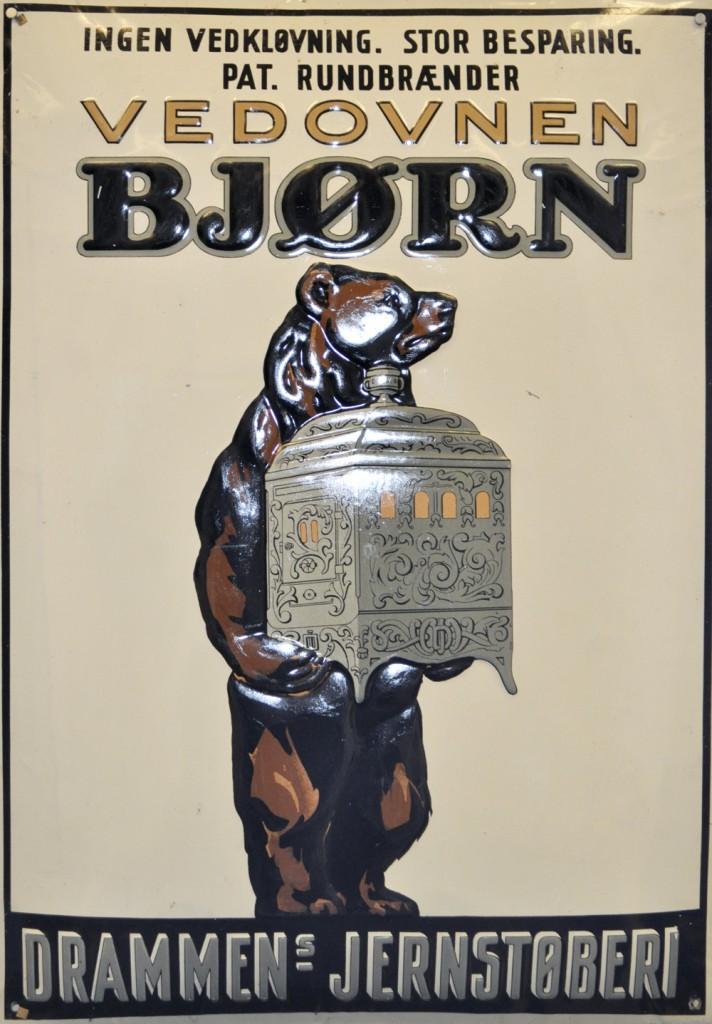 Emaljert reklameplakat for Bjørnovner.