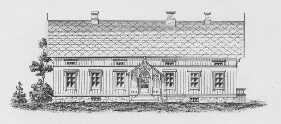 Forslag til gårdshus. Tegning fra boka «Kortfattet veiledning i Bygningsvæsen paa Landet», G. Tandberg 1890.