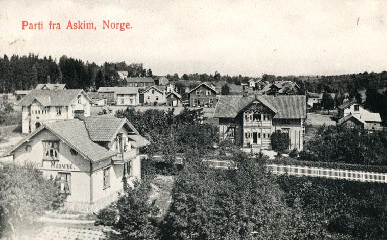 Typisk tettsted i nærheten av jernbanestasjon. Bebyggelse oppført i sveitserstil, fotografert tidlig 1900.