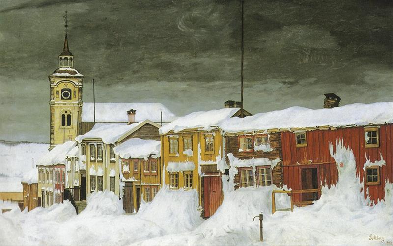 Slik kunstneren Harald Sohlberg malte «Sohlberg-rekka» i 1903. (foto: Wikimedia Commons)