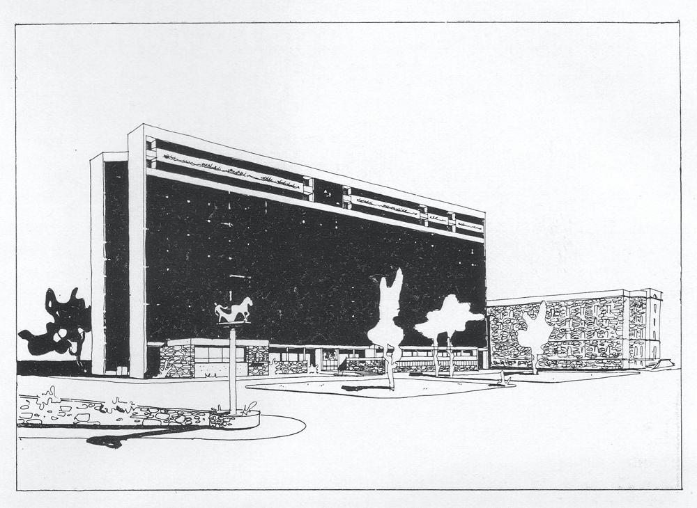 Viksjøs opprinnelige konkurranseutkast fra 1939 (Byggekunst 1940)