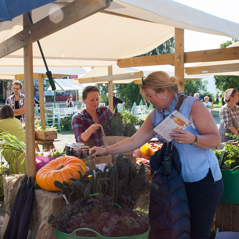 Marianne fra Hovelsrud gård har med seg spiselige godsaker fra den historiske hagen for salg.