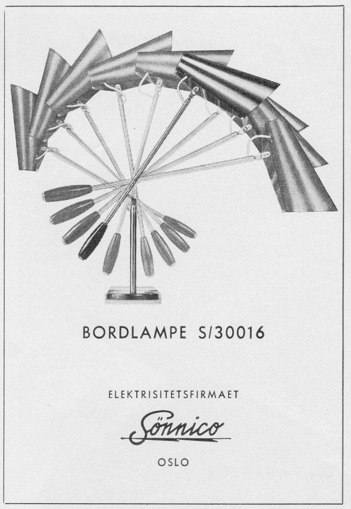 Annonse for bordlampe modell S/30016.