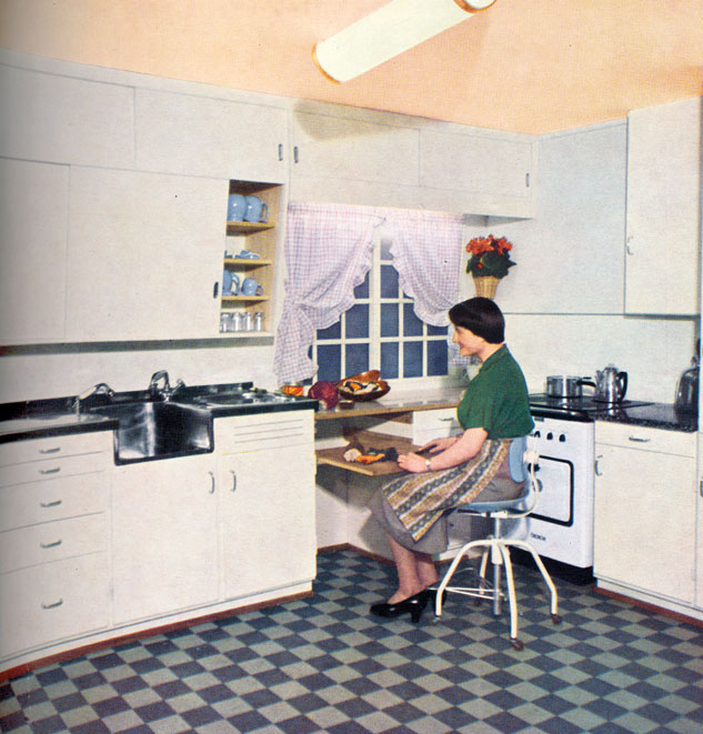 MK-kjøkkenet fra AS Moderne Kjøkken. Standardfargen var hvitt, men man kunne male innredningen etter ønske. Bilde fra reklame i BONYTT, nr 1 1955.