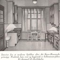 Et moderne kjøkken anno 1930. «Et eksempel til etfterfølgelse» Legg merke til at det er belysning i underkant av overskapene. Fra Hus & Have, nr 2 1930.
