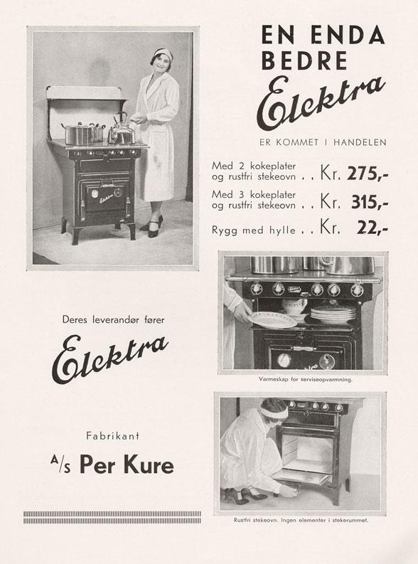 Reklame for Elektra-komfyren, Hus & Have, 1932. Legg merke til at komfyren både har steikeovn og varmeskap/tallerkenvarmer.