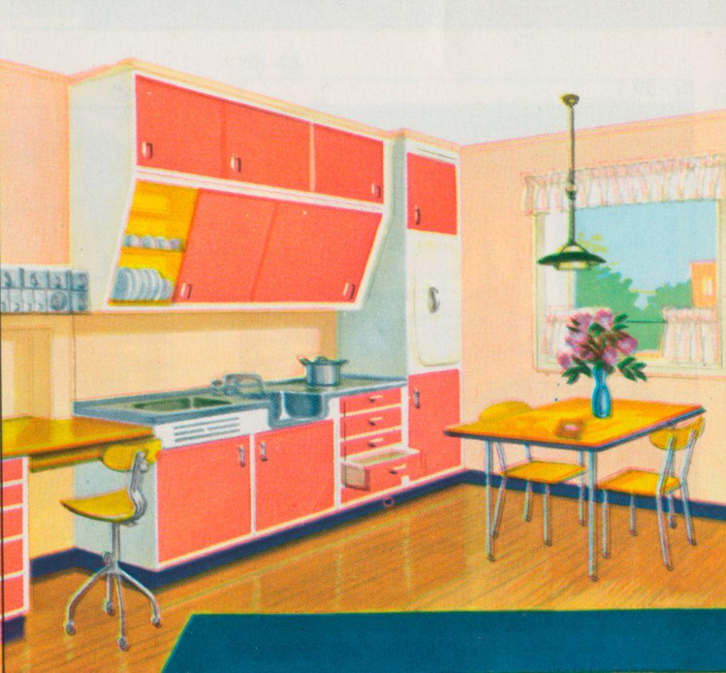 I brosjyren «Alf Bjerckes fargeforslag» ses det samme kjøkkenet. Her står det: «Kjør på med friske farger inne i skuffer og skap, så møter De fargeglede hver gang De åpner en skapdør.» Innredning malt i Oxan- EMALJE i fargen nr 51 Korall med kontrastfargen nr 22 Soleie.